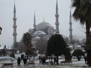 the outer view :the blue mosque looks white in snow!