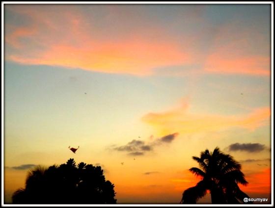 coloured horizon above
